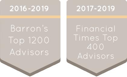 2016-2019 Barron's Top 1200 Advisors and 2017-2019 Financial Times Top 400 Advisors